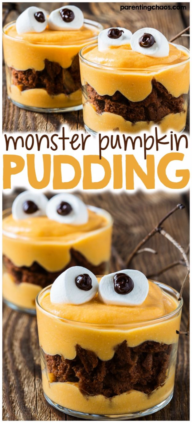 Best Halloween Party Snacks - Monster Pumpkin Pudding - Healthy Ideas for Kids for School, Teens and Adults - Easy and Quick Recipes and Idea for Dips, Chips, Spooky Cookies and Treats - Appetizers and Finger Foods Made With Vegetables, No Candy, Cheap Food, Scary DIY Party Foods With Step by Step Tutorials http://diyjoy.com/halloween-party-snacks