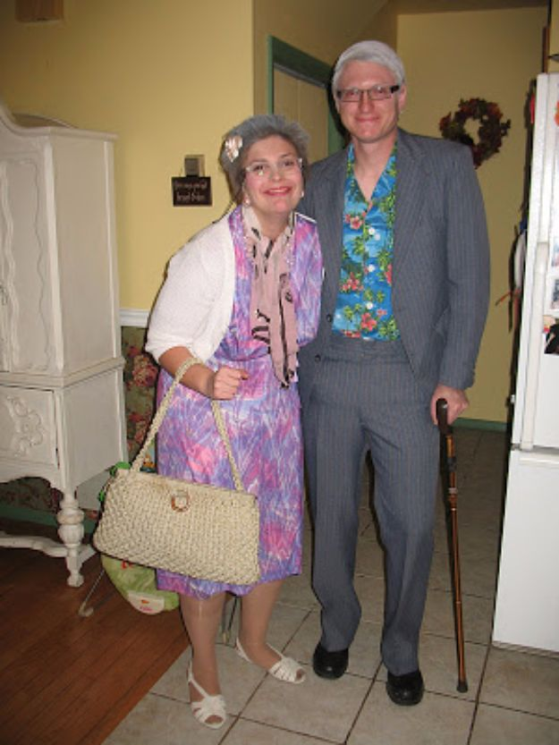 DIY Halloween Costumes for Couples - Old Couple - Funny, Creative and Scary Ideas for Parties, College Party - Unique and Cute Project Idea for Disney Characters, Superhero, Movie Themes, Bonnie and Clyde, Homemade Costume Projects for Boyfriends - Quick Last Minutes Halloween Costume Ideas from Pinterest #halloween #halloweencostumes