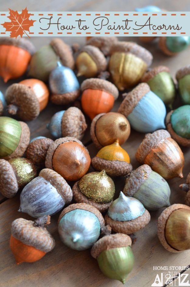 Best Crafts for Fall - Painted Acorns - DIY Mason Jar Ideas, Dollar Store Crafts, Rustic Pumpkin Ideas, Wreaths, Candles and Wall Art, Centerpieces, Wedding Decorations, Homemade Gifts, Craft Projects with Leaves, Flowers and Burlap, Painted Art, Candles and Luminaries for Cool Home Decor - Quick and Easy Projects With Step by Step Tutorials and Instructions http://diyjoy.com/best-crafts-for-fall