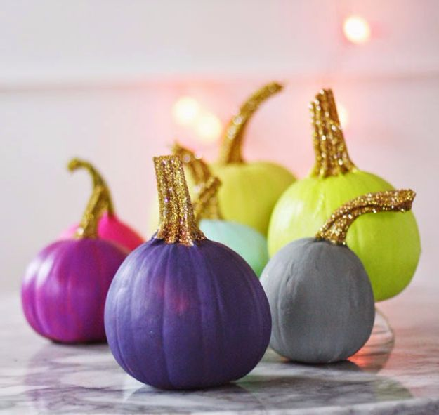 Best Crafts for Fall - Painted Pumpkins With Glittered Stems - DIY Mason Jar Ideas, Dollar Store Crafts, Rustic Pumpkin Ideas, Wreaths, Candles and Wall Art, Centerpieces, Wedding Decorations, Homemade Gifts, Craft Projects with Leaves, Flowers and Burlap, Painted Art, Candles and Luminaries for Cool Home Decor - Quick and Easy Projects With Step by Step Tutorials and Instructions http://diyjoy.com/best-crafts-for-fall