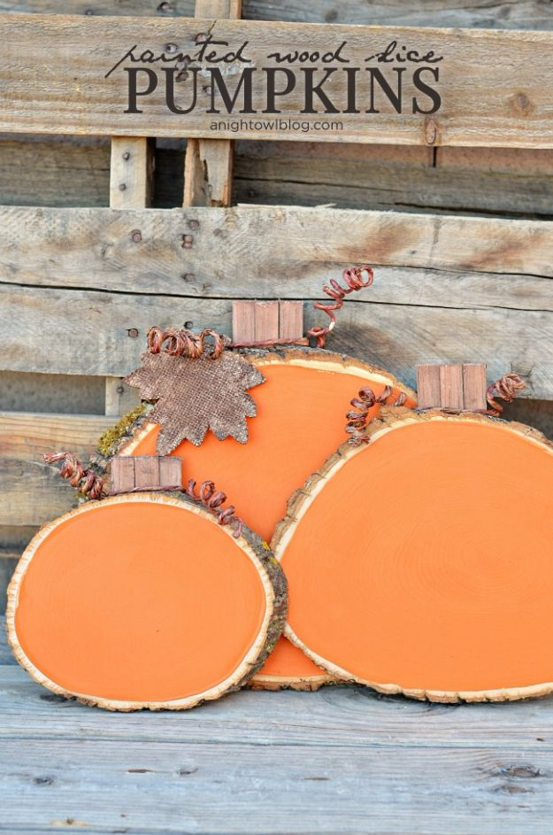 Best Crafts for Fall - Painted Wood Slice Pumpkins - DIY Mason Jar Ideas, Dollar Store Crafts, Rustic Pumpkin Ideas, Wreaths, Candles and Wall Art, Centerpieces, Wedding Decorations, Homemade Gifts, Craft Projects with Leaves, Flowers and Burlap, Painted Art, Candles and Luminaries for Cool Home Decor - Quick and Easy Projects With Step by Step Tutorials and Instructions http://diyjoy.com/best-crafts-for-fall