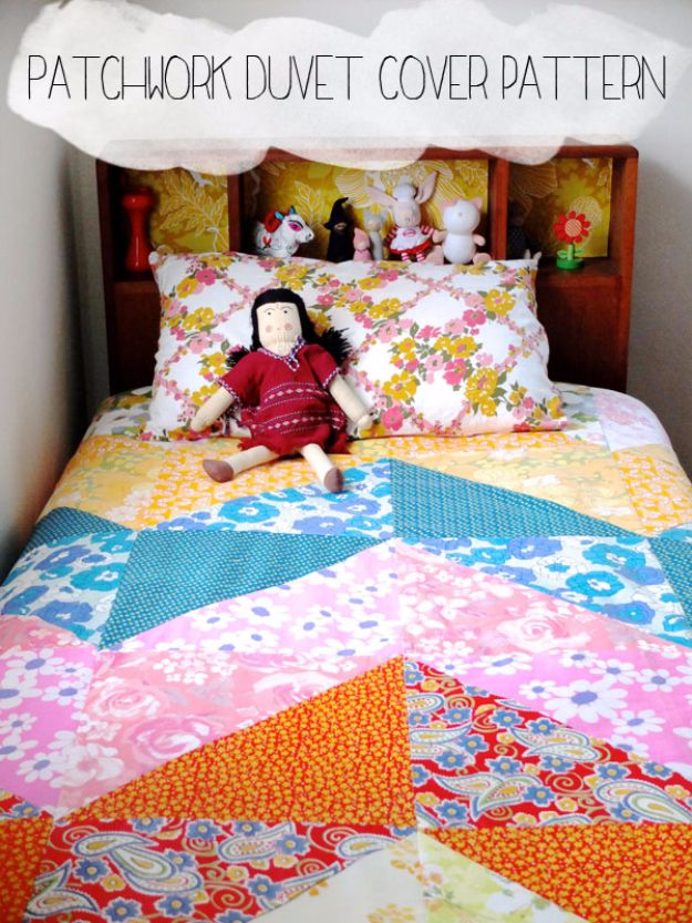 DIY Duvet Covers - Patchwork Duvet Cover Pattern - Easy Sewing Projects and No Sew Ideas for Duvets - Cheap Bedroom Decor Ideas on A Budget - How To Sew A Duvet Cover and Bedding Tutorial - Creative Covers for Bed - Quick Projects for Making Designer Duvets - Awesome Home Decor Ideas and Crafts #duvet #diybedroom #roomdecor #sewingideas