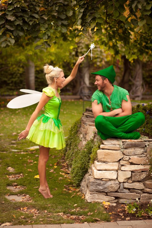 DIY Halloween Costumes for Couples - Peter Pan And Tinkerbell - Funny, Creative and Scary Ideas for Parties, College Party - Unique and Cute Project Idea for Disney Characters, Superhero, Movie Themes, Bonnie and Clyde, Homemade Costume Projects for Boyfriends - Quick Last Minutes Halloween Costume Ideas from Pinterest http://diyjoy.com/best-halloween-costumes-couples