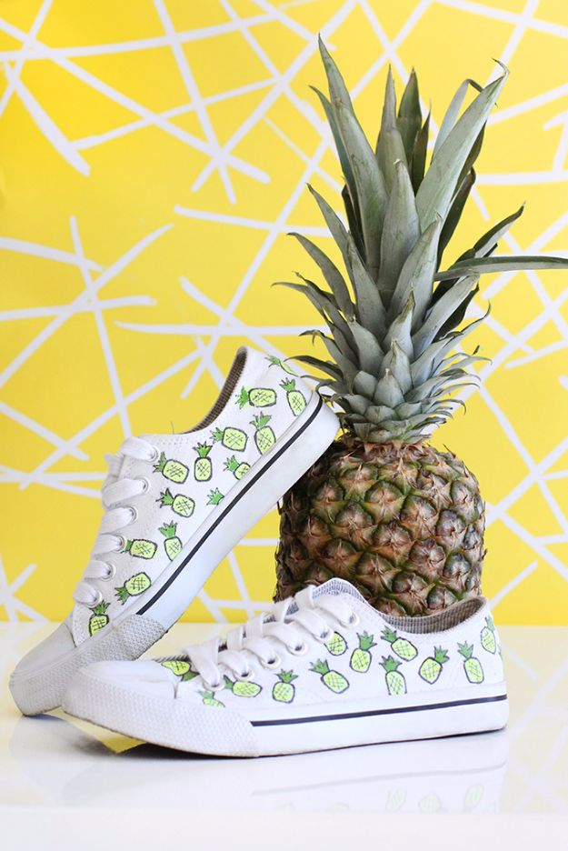 DIY Ideas for Tennis Shoes and Sneakers - Pineapple Cotton Canvas Sneakers - Fun Projects to Decorate, Update and Style Your High Tops, Keds, Canvas Shoes, Chuck Taylors, White Converse and All Star - Tips, Tutorials, Free Pattern and Step by Step Tutorial - Sparkle, Glitter, Paint, Stencil Tie Dye - Cool Christmas Gifts and Presents and Homemade Gifts for Adults, Teens and Kids http://diyjoy.com/diy-ideas-tennis-shoes