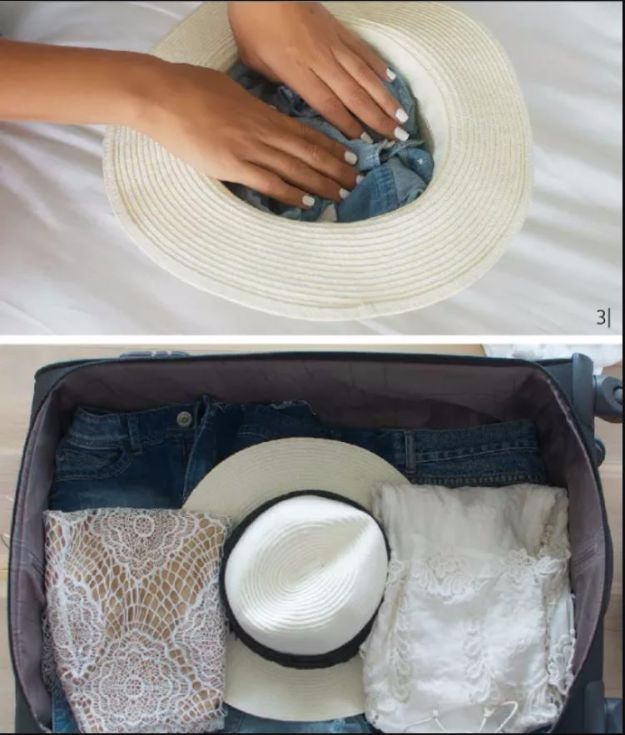 Packing Tips for Travel - Properly Pack A Hat - Easy Ideas for Packing a Suitcase To Maximize Space - Tricks and Hacks for Folding Clothes, Storing Toiletries, Shampoo and Makeup - Keep Clothing Wrinkle Free in Your Bag http://diyjoy.com/packing-tips-travel