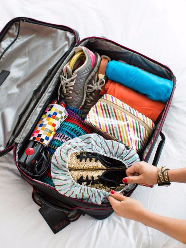 Packing Tips for Travel - Put A Shower Cap On Your Shoes - Easy Ideas for Packing a Suitcase To Maximize Space - Tricks and Hacks for Folding Clothes, Storing Toiletries, Shampoo and Makeup - Keep Clothing Wrinkle Free in Your Bag http://diyjoy.com/packing-tips-travel