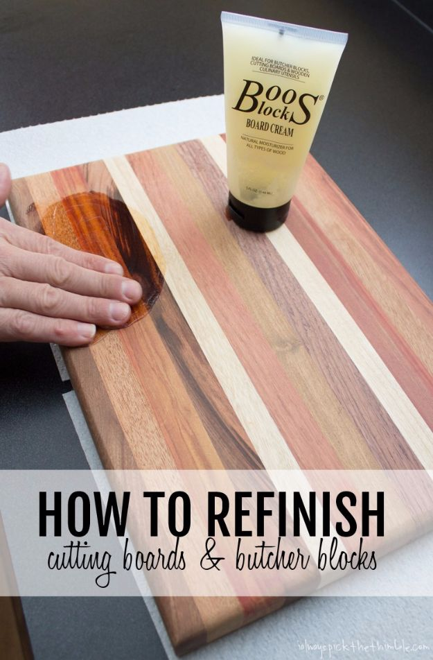 Cool Woodworking Tips - Refinish Cutting Boards And Butcher Blocks - Easy Woodworking Ideas, Woodworking Tips and Tricks, Woodworking Tips For Beginners, Basic Guide For Woodworking - Refinishing Wood, Sanding and Staining, Cleaning Wood and Upcycling Pallets - Tips for Wooden Craft Projects http://diyjoy.com/diy-woodworking-ideas