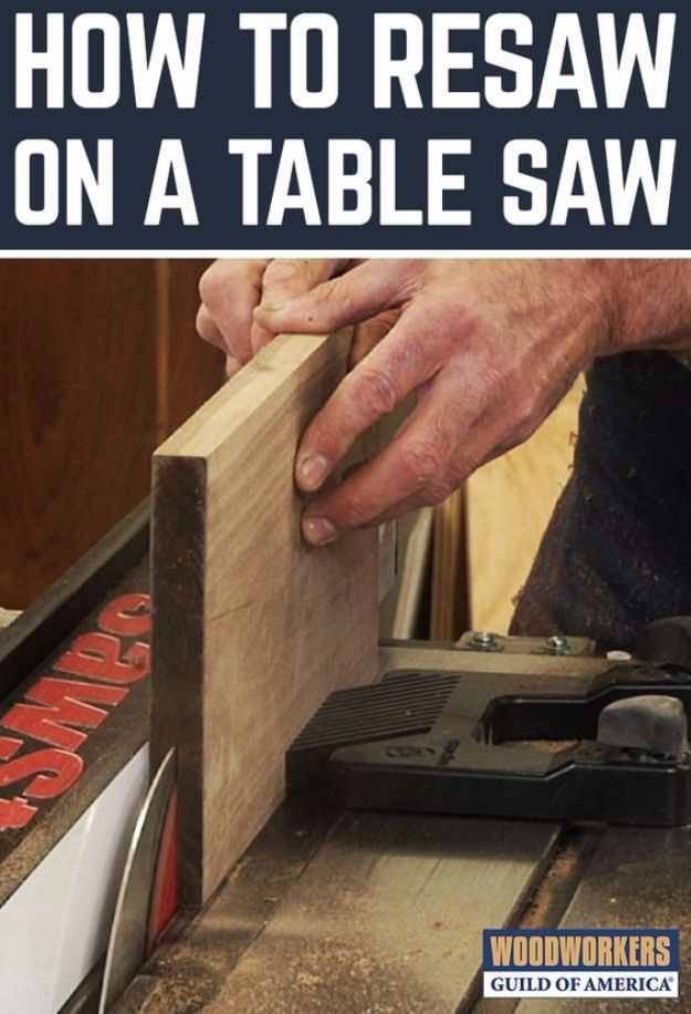 Cool Woodworking Tips - Resaw On A Table Saw - Easy Woodworking Ideas, Woodworking Tips and Tricks, Woodworking Tips For Beginners, Basic Guide For Woodworking - Refinishing Wood, Sanding and Staining, Cleaning Wood and Upcycling Pallets - Tips for Wooden Craft Projects http://diyjoy.com/diy-woodworking-ideas