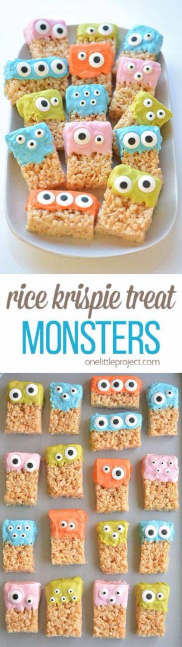Cool Halloween Dessert Recipe - Rice Krispie Treat Monsters - Healthy Ideas for Kids for School, Teens and Adults - Easy and Quick Recipes and Idea for Dips, Chips, Spooky Cookies and Treats - Appetizers and Finger Foods Made With Vegetables, No Candy, Cheap Food, Scary DIY Party Foods With Step by Step Tutorials #halloween #halloweenrecipes #halloweenparty