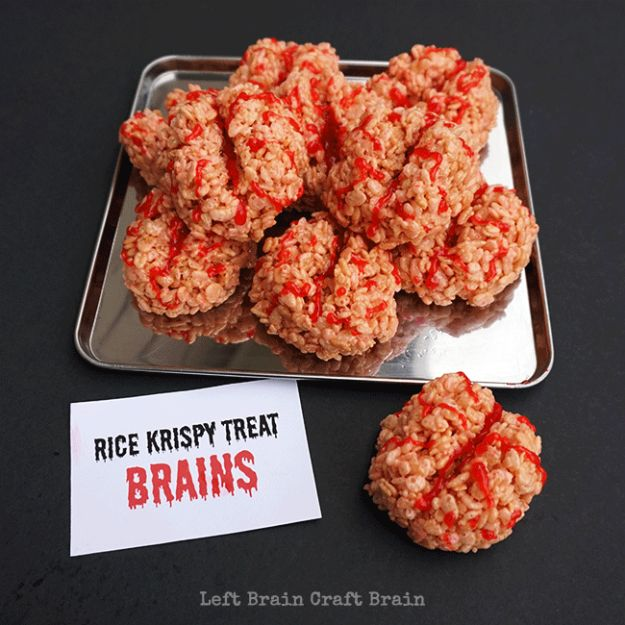 Best Halloween Party Snacks - Rice Krispy Treat Brains - Healthy Ideas for Kids for School, Teens and Adults - Easy and Quick Recipes and Idea for Dips, Chips, Spooky Cookies and Treats - Appetizers and Finger Foods Made With Vegetables, No Candy, Cheap Food, Scary DIY Party Foods With Step by Step Tutorials http://diyjoy.com/halloween-party-snacks