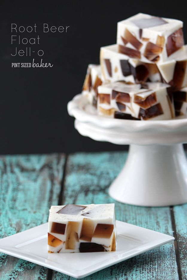 Best Jello Shot Recipes - Root Beer Float Jello - Easy Jello Shots Recipe Ideas with Vodka, Strawberry, Tequila, Rum, Jolly Rancher and Creative Alcohol - Unique and Fun Drinks for Parties like Whiskey Fireball, Fall Halloween Versions, Malibu, 4th of July, Birthday, Summer, Christmas and Birthdays http://diyjoy.com/best-jello-shot-recipes