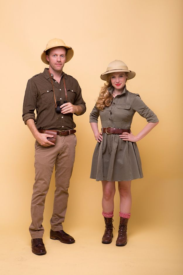 DIY Halloween Costumes for Couples - Safari Couple's Costume - Funny, Creative and Scary Ideas for Parties, College Party - Unique and Cute Project Idea for Disney Characters, Superhero, Movie Themes, Bonnie and Clyde, Homemade Costume Projects for Boyfriends - Quick Last Minutes Halloween Costume Ideas from Pinterest #halloween #halloweencostumes