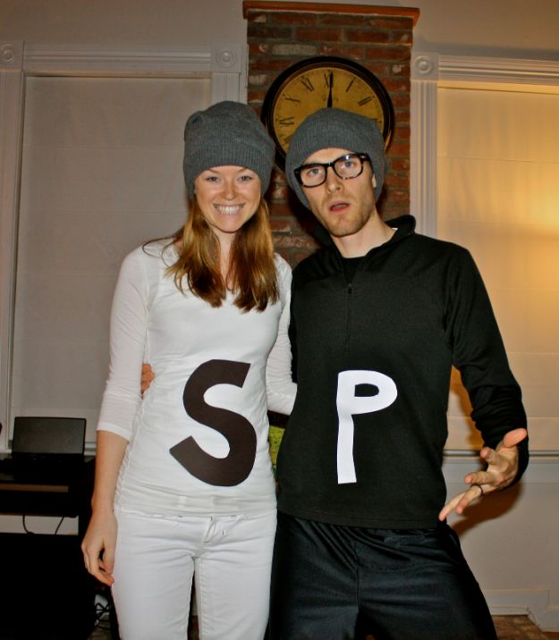 DIY Halloween Costumes for Couples - Salt And Pepper - Funny, Creative and Scary Ideas for Parties, College Party - Unique and Cute Project Idea for Disney Characters, Superhero, Movie Themes, Bonnie and Clyde, Homemade Costume Projects for Boyfriends - Quick Last Minutes Halloween Costume Ideas from Pinterest #halloween #halloweencostumes