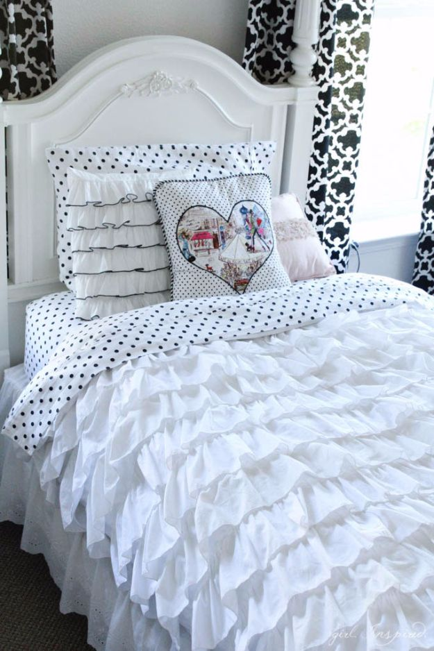 DIY Duvet Covers - Shabby Chic Ruffled Duvet Cover - Easy Sewing Projects and No Sew Ideas for Duvets - Cheap Bedroom Decor Ideas on A Budget - How To Sew A Duvet Cover and Bedding Tutorial - Creative Covers for Bed - Quick Projects for Making Designer Duvets - Awesome Home Decor Ideas and Crafts http://diyjoy.com/diy-duvet-covers