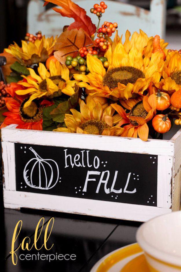 Best Crafts for Fall - Simple Fall Centerpiece - DIY Mason Jar Ideas, Dollar Store Crafts, Rustic Pumpkin Ideas, Wreaths, Candles and Wall Art, Centerpieces, Wedding Decorations, Homemade Gifts, Craft Projects with Leaves, Flowers and Burlap, Painted Art, Candles and Luminaries for Cool Home Decor - Quick and Easy Projects With Step by Step Tutorials and Instructions http://diyjoy.com/best-crafts-for-fall