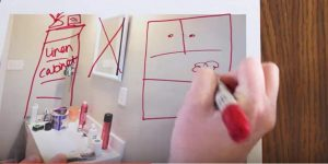 She Draws Out Her Plans For Her Small Bathroom. She Cleverly Does This On A Budget!