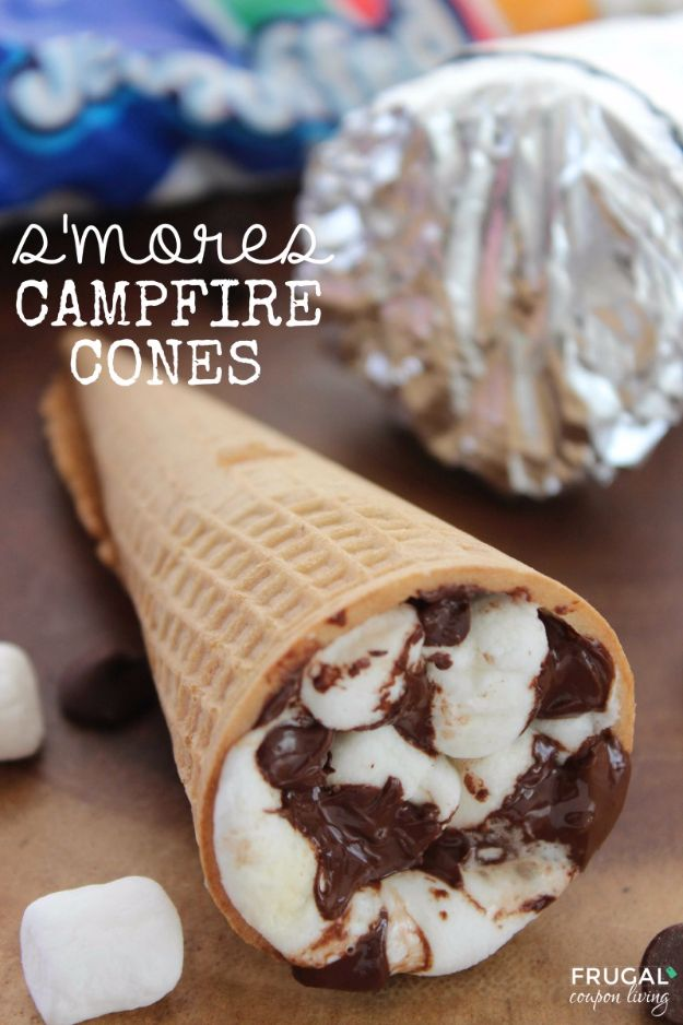 Tin Foil Camping Recipes - S'mores Campfire Cones - DIY Tin Foil Dinners, Ideas for Camping Trips and On Grill. Hamburger, Chicken, Healthy, Fish, Steak , Easy Make Ahead Recipe Ideas for the Campfire. Breakfast, Lunch, Dinner and Dessert, Snacks all Wrapped in Foil for Quick Cooking http://diyjoy.com/tinfoil-camping-recipes