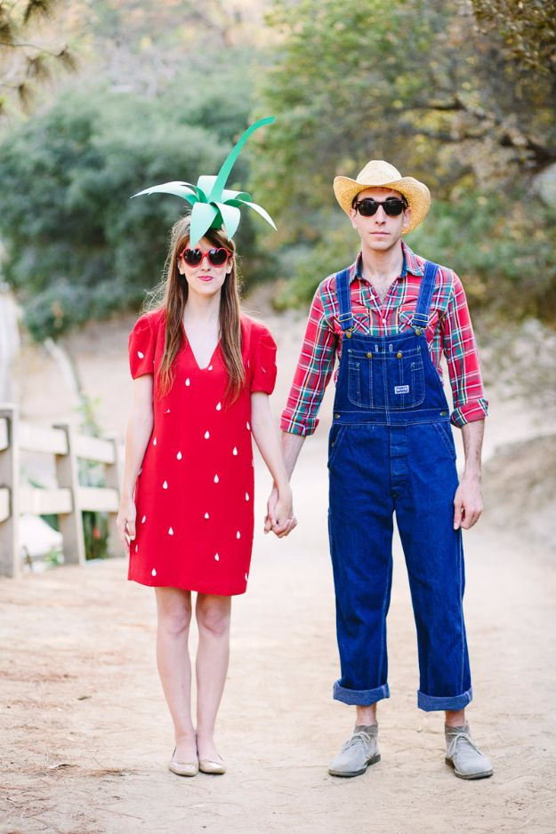 DIY Halloween Costumes for Couples - Strawberry And Farmer - Funny, Creative and Scary Ideas for Parties, College Party - Unique and Cute Project Idea for Disney Characters, Superhero, Movie Themes, Bonnie and Clyde, Homemade Costume Projects for Boyfriends - Quick Last Minutes Halloween Costume Ideas from Pinterest http://diyjoy.com/best-halloween-costumes-couples