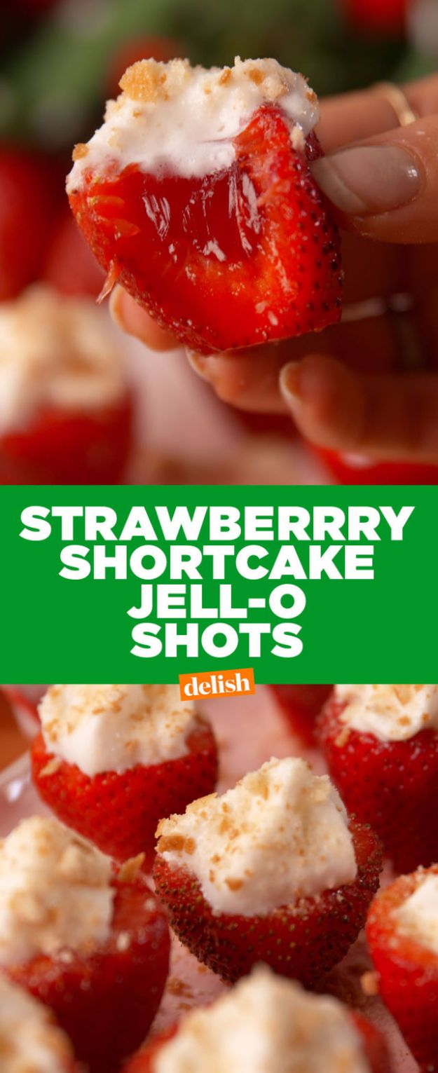 Best Jello Shot Recipes - Strawberry Shortcake Jell-O Shots - Easy Jello Shots Recipe Ideas with Vodka, Strawberry, Tequila, Rum, Jolly Rancher and Creative Alcohol - Unique and Fun Drinks for Parties like Whiskey Fireball, Fall Halloween Versions, Malibu, 4th of July, Birthday, Summer, Christmas and Birthdays #jelloshots #partydrinks #drinkrecipes