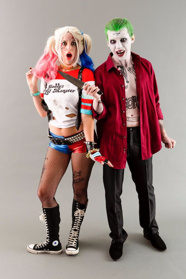 DIY Halloween Costumes for Couples - Suicide Squad's Joker + Harley Quinn - Funny, Creative and Scary Ideas for Parties, College Party - Unique and Cute Project Idea for Disney Characters, Superhero, Movie Themes, Bonnie and Clyde, Homemade Costume Projects for Boyfriends - Quick Last Minutes Halloween Costume Ideas from Pinterest http://diyjoy.com/best-halloween-costumes-couples
