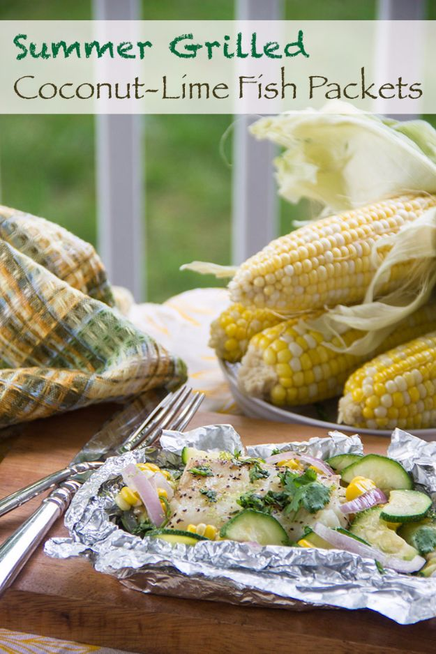 Tin Foil Camping Recipes - Summer Grilled Coconut-Lime Fish Packets - DIY Tin Foil Dinners, Ideas for Camping Trips and On Grill. Hamburger, Chicken, Healthy, Fish, Steak , Easy Make Ahead Recipe Ideas for the Campfire. Breakfast, Lunch, Dinner and Dessert, Snacks all Wrapped in Foil for Quick Cooking http://diyjoy.com/tinfoil-camping-recipes