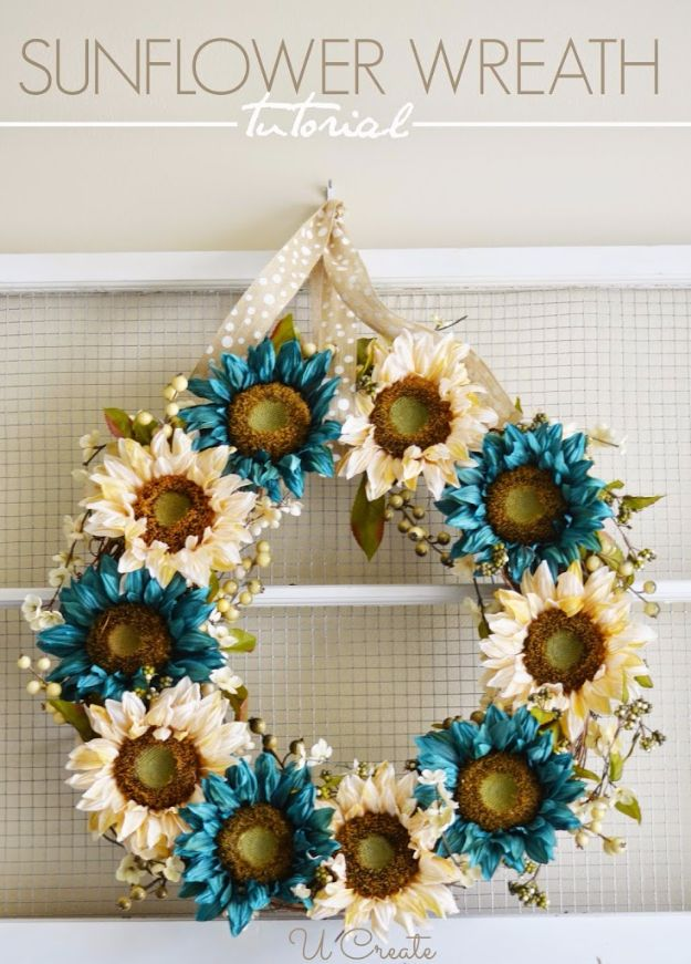 Best Crafts for Fall - Sunflower Wreath - DIY Mason Jar Ideas, Dollar Store Crafts, Rustic Pumpkin Ideas, Wreaths, Candles and Wall Art, Centerpieces, Wedding Decorations, Homemade Gifts, Craft Projects with Leaves, Flowers and Burlap, Painted Art, Candles and Luminaries for Cool Home Decor - Quick and Easy Projects With Step by Step Tutorials and Instructions