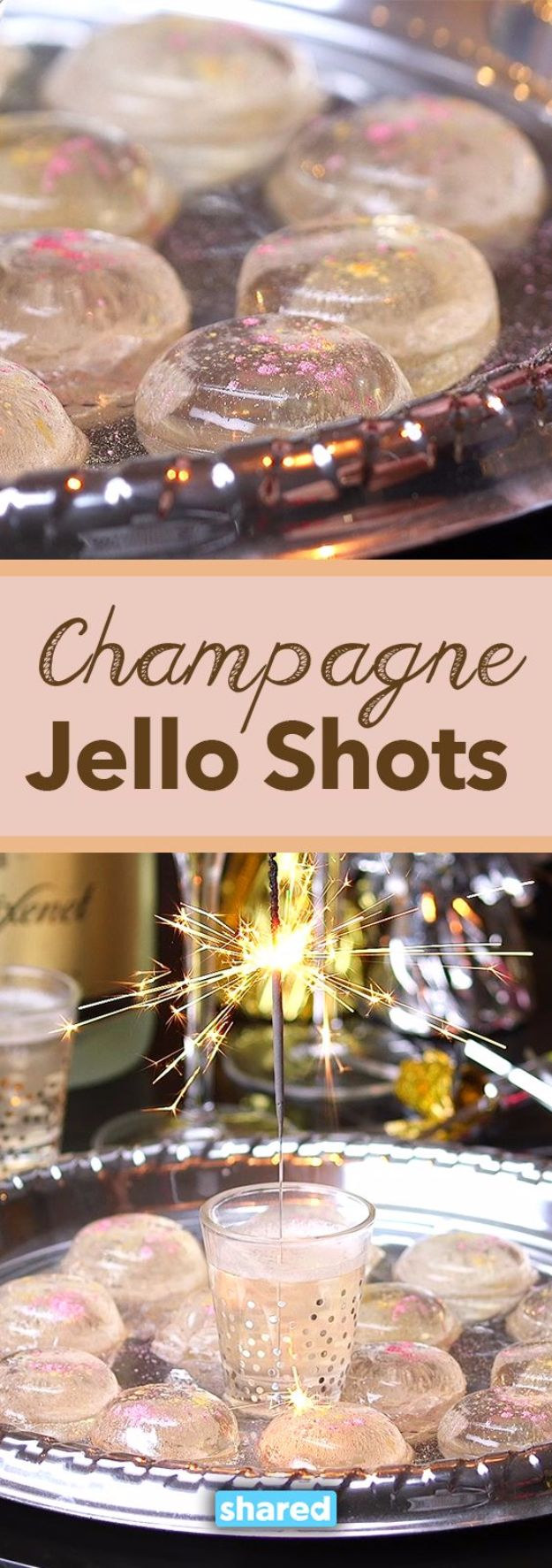 Best Jello Shot Recipes - Super Easy Champagne Jello Shots - Easy Jello Shots Recipe Ideas with Vodka, Strawberry, Tequila, Rum, Jolly Rancher and Creative Alcohol - Unique and Fun Drinks for Parties like Whiskey Fireball, Fall Halloween Versions, Malibu, 4th of July, Birthday, Summer, Christmas and Birthdays #jelloshots #partydrinks #drinkrecipes