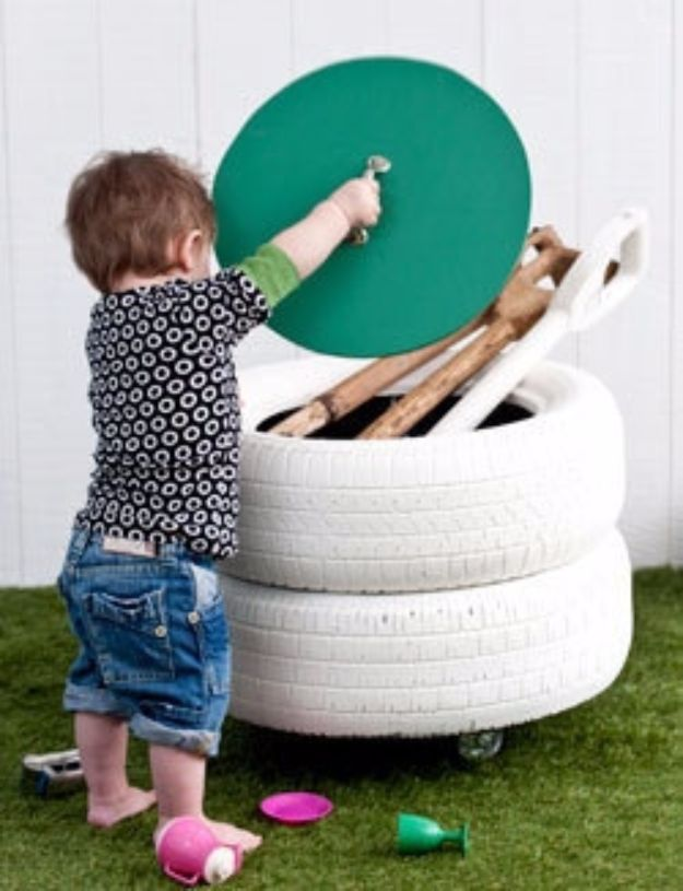 DIY Ideas With Old Tires - Turn Old Tires into a Storage Bin - Rustic Farmhouse Decor Tutorials and Projects Made With An Old Tire - Easy Vintage Shelving, Wall Art, Swing, Ottoman, Seating, Furniture, Gardeing Ideas and Home Decor for Kitchen, Living Room, Bathroom and Backyard - Creative Country Crafts, Rustic Wall Art and Accessories to Make and Sell http://diyjoy.com/diy-projects-old-tires