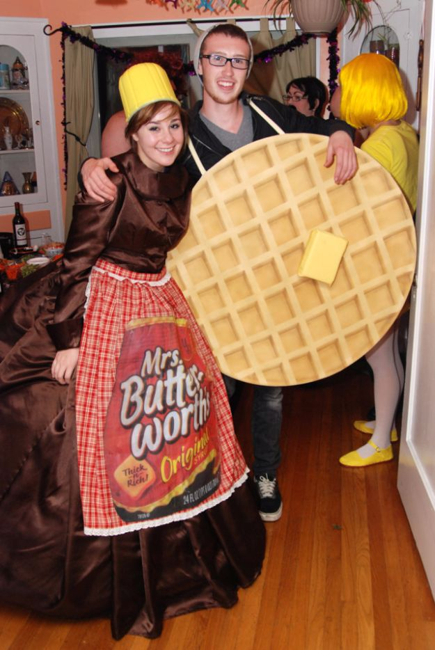 DIY Halloween Costumes for Couples - Waffle & Mrs. Buttersworth - Funny, Creative and Scary Ideas for Parties, College Party - Unique and Cute Project Idea for Disney Characters, Superhero, Movie Themes, Bonnie and Clyde, Homemade Costume Projects for Boyfriends - Quick Last Minutes Halloween Costume Ideas from Pinterest http://diyjoy.com/best-halloween-costumes-couples