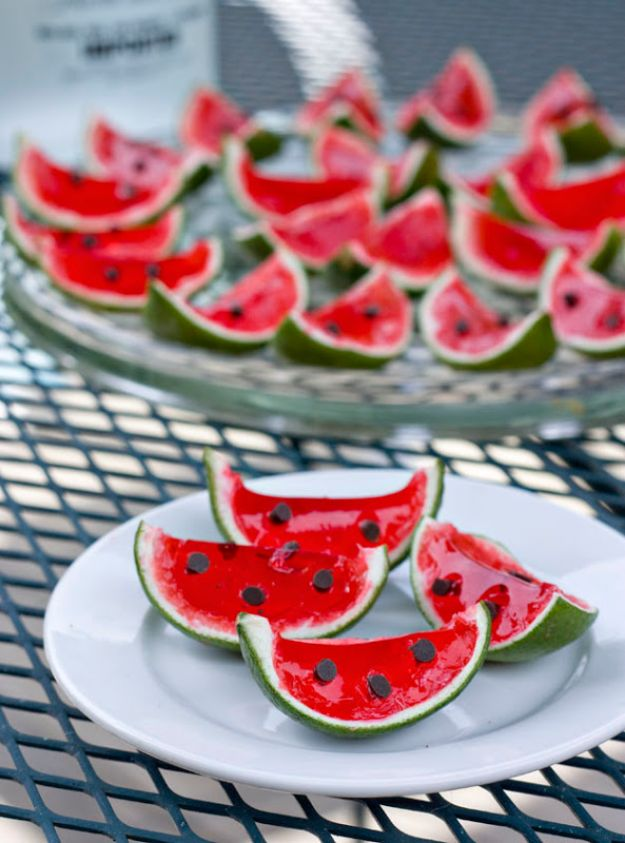 Best Jello Shot Recipes - Watermelon Lime Jello Shots - Easy Jello Shots Recipe Ideas with Vodka, Strawberry, Tequila, Rum, Jolly Rancher and Creative Alcohol - Unique and Fun Drinks for Parties like Whiskey Fireball, Fall Halloween Versions, Malibu, 4th of July, Birthday, Summer, Christmas and Birthdays http://diyjoy.com/best-jello-shot-recipes