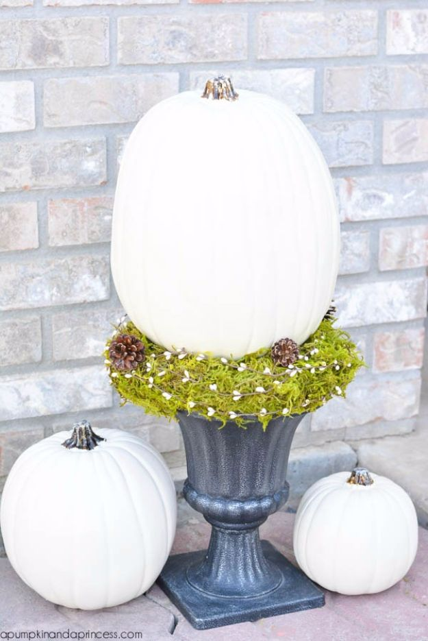 Best Crafts for Fall - White Pumpkin Topiary - DIY Mason Jar Ideas, Dollar Store Crafts, Rustic Pumpkin Ideas, Wreaths, Candles and Wall Art, Centerpieces, Wedding Decorations, Homemade Gifts, Craft Projects with Leaves, Flowers and Burlap, Painted Art, Candles and Luminaries for Cool Home Decor - Quick and Easy Projects With Step by Step Tutorials and Instructions
