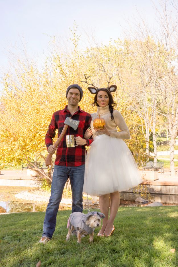 DIY Halloween Costumes for Couples - Woodland Deer and Lumberjack Couples Costume - Funny, Creative and Scary Ideas for Parties, College Party - Unique and Cute Project Idea for Disney Characters, Superhero, Movie Themes, Bonnie and Clyde, Homemade Costume Projects for Boyfriends - Quick Last Minutes Halloween Costume Ideas from Pinterest http://diyjoy.com/best-halloween-costumes-couples