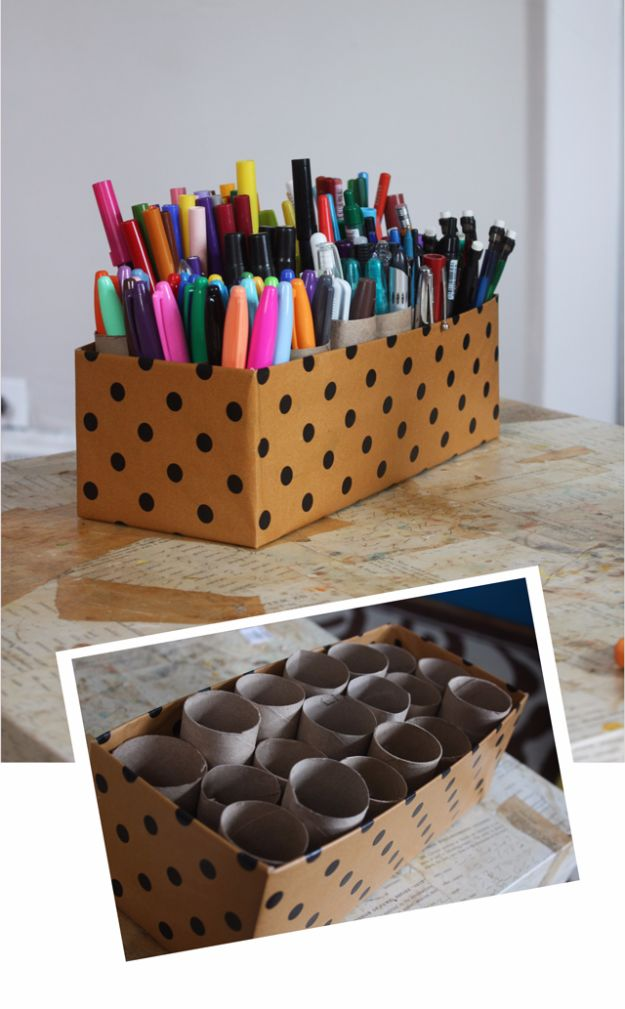 DIY Ideas With Shoe Boxes - 10 Minute Marker Caddy - Shoe Box Crafts and Organizers for Storage - How To Make A Shelf, Makeup Organizer, Kids Room Decoration, Storage Ideas Projects - Cheap Home Decor DIY Ideas for Kids, Adults and Teens Rooms http://diyjoy.com/diy-ideas-shoe-boxes