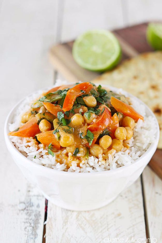 Easy Dinner Ideas for Two - 20 Minute Chickpea Curry - Quick, Fast and Simple Recipes to Make for Two People - Freeze and Make Ahead Dinner Recipe Tips for Best Weeknight Dinners - Chicken, Fish, Vegetable, No Bake and Vegetarian Options - Crockpot, Microwave, Healthy, Lowfat