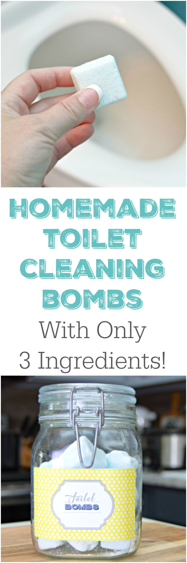 Cleaning Tips and Tricks - 3 Ingredient Homemade Toilet Cleaning Bombs - Best Cleaning Hacks, Recipes and Tutorials - Daily Ways to Clean For Kitchen, For Couches, Bathroom, Bedroom, Laundry, Floors, Furniture, Windows, Cleaners and More for Cleaning Your Home- Quick Ideas for Lazy People - Cool Cleaning Hack Tutorial