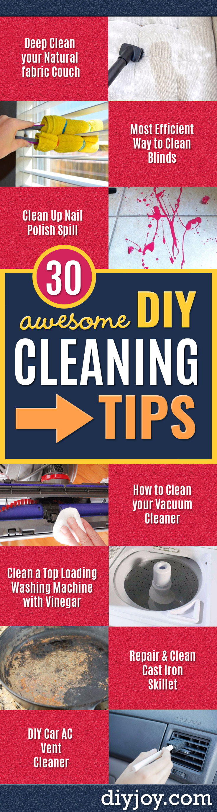 Cleaning Tips and Tricks - Best Cleaning Hacks, Recipes and Tutorials - Daily Ways to Clean For Kitchen, For Couches, Bathroom, Bedroom, Laundry, Floors, Furniture, Windows, Cleaners and More for Cleaning Your Home- Quick Ideas for Lazy People - Cool Cleaning Hack Tutorial - DIY Projects and Crafts by DIY JOY http://diyjoy.com/diy-cleaning-tips-tricks