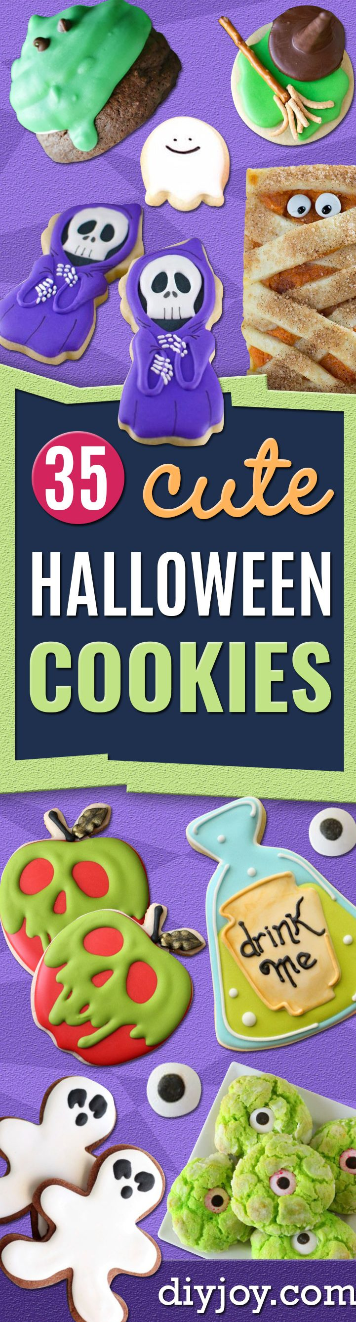 Cute Halloween Cookies - Easy Recipes and Cookie Tutorials for Making Quick Halloween Treats - Spooky DIY Decorated Ghosts, Pumpkins, Bats, No Bake, Spiders and Spiderwebs, Tombstones and Healthy Options, Kids and Teens Cookies for School