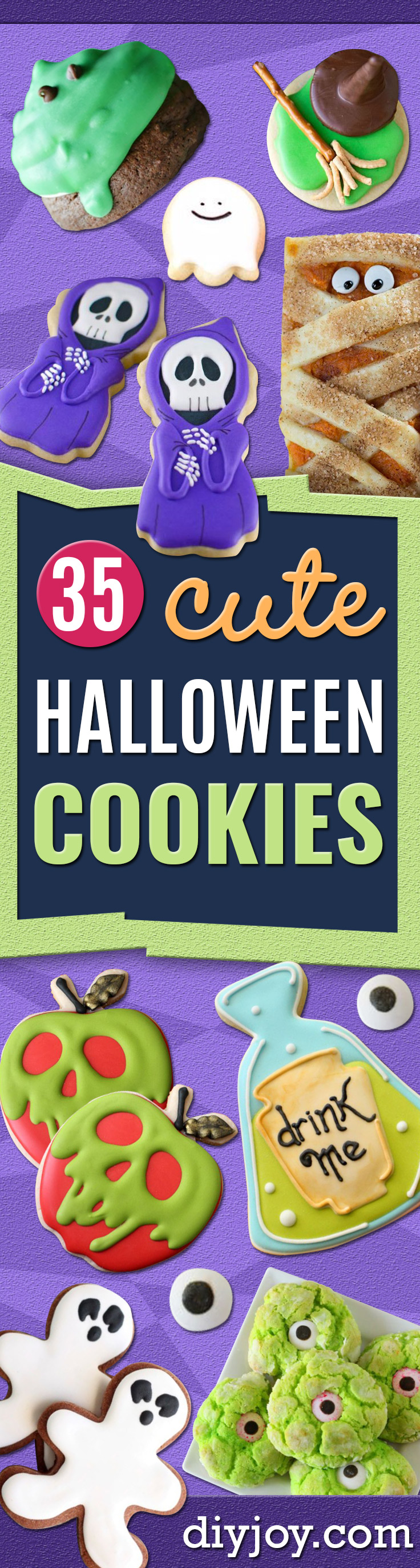 Cute Halloween Cookies - Easy Recipes and Cookie Tutorials for Making Quick Halloween Treats - Spooky DIY Decorated Ghosts, Pumpkins, Bats, No Bake, Spiders and Spiderwebs, Tombstones and Healthy Options, Kids and Teens Cookies for School http://diyjoy.com/halloween-cookies-ideas