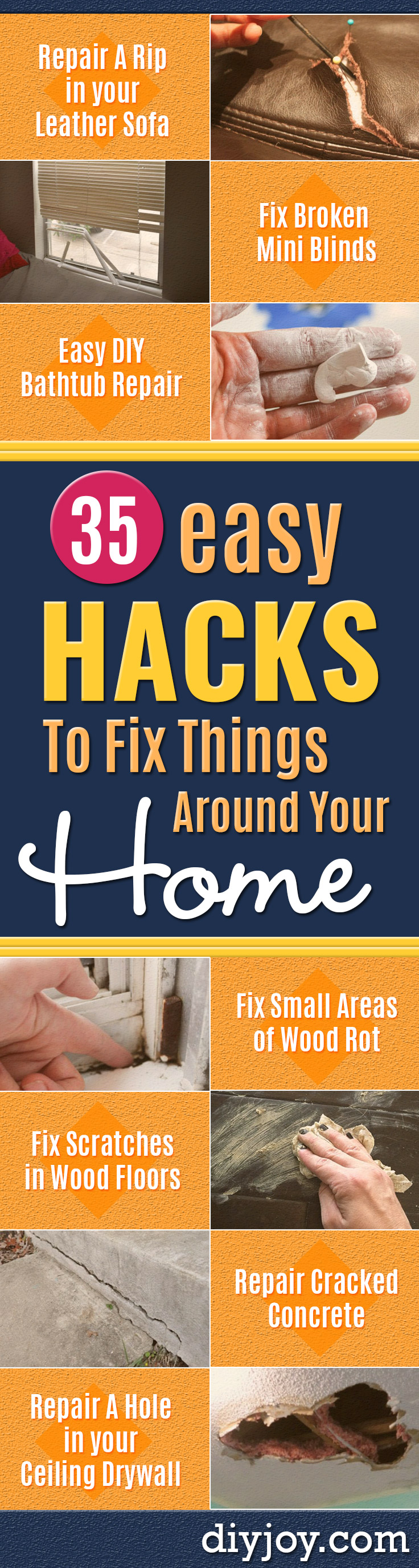 Easy Home Repair Hacks - Quick Ways to Easily Fix Broken Things Around The House - DIY Tricks for Home Improvement and Repairs - Simple Solutions for Kitchen, Bath, Garage and Yard - Caulk, Grout, Wall Repair and Wood Patching and Staining http://diyjoy.com/easy-home-repair-hacks