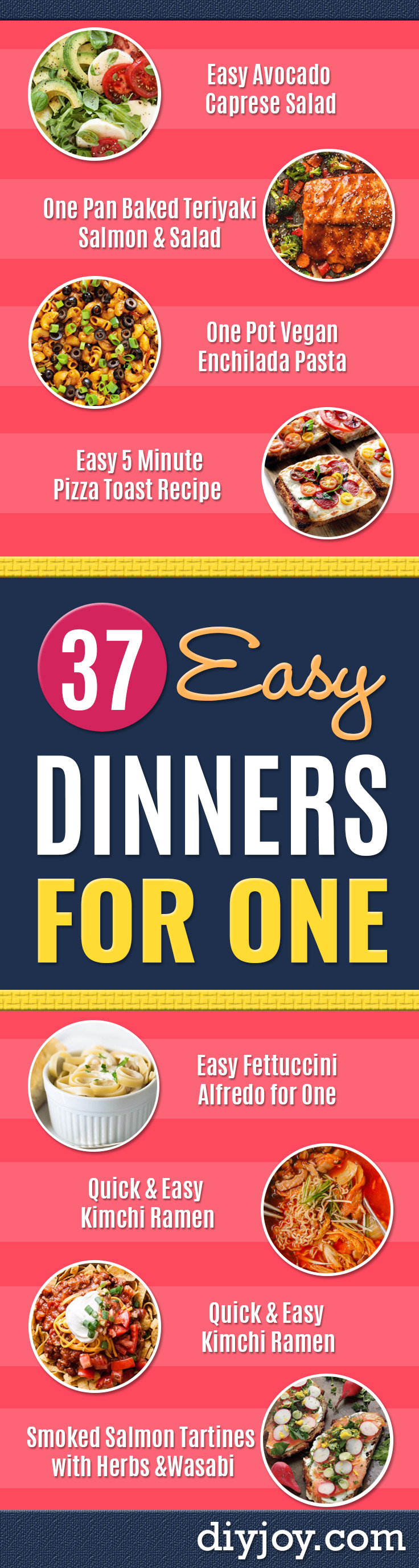 Easy Dinner Ideas for One - Quick, Fast and Simple Recipes to Make for a Single Person - Freeze and Make Ahead Dinner Recipe Tips for Best Weeknight Dinners for Singles - Chicken, Fish, Vegetable, No Bake and Vegetarian Options - Crockpot, Microwave, Healthy, Lowfat Options http://diyjoy.com/easy-dinners-for-one
