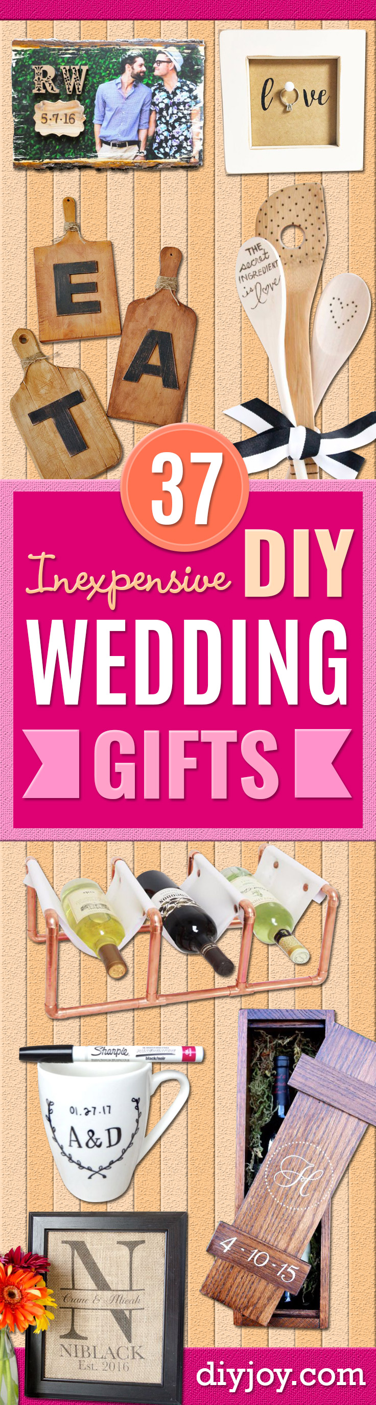 Cheap Wedding Gift Ideas - DIY Wedding Gifts You Can Make On A Budget - Quick and Easy Ideas for Handmade Presents for the Couple Getting Married - Inexpensive Things To Make for Bride and Groom - DIY Home Decor, Wall Art, Glassware, Furniture, Tableware, Place Settings, Cake and Cookie Plates and Glasses http://diyjoy.com/cheap-diy-wedding-gift-ideas