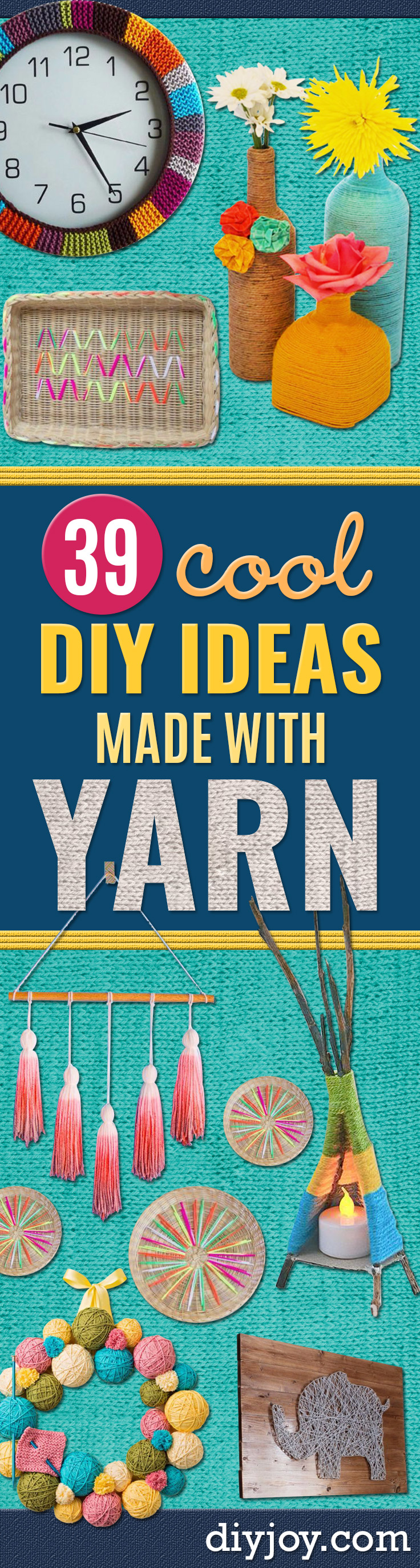 DIY Ideas With Yarn and Best Yarn Crafts - Wall Hangings, Easy Dream Catchers, Crochet Ideas for Teens, Adults and Kids - Knitting , No Sew and Weaving Projects Make Awesome Wall Art and Home Decor on A Budget http://diyjoy.com/diy-ideas-yarn
