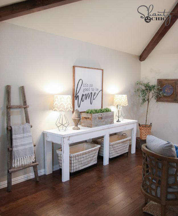 DIY Media Consoles and TV Stands - $40 Farmhouse Console Table - Make a Do It Yourself Entertainment Center With These Easy Step By Step Tutorials - Easy Farmhouse Decor Media Stand for Television - Free Plans and Instructions for Building and Painting Your Own DIY Furniture - IKEA Hacks for TV Stand Idea - Quick and Easy Ways to Decorate Your Home On A Budget http://diyjoy.com/diy-tv-media-consoles