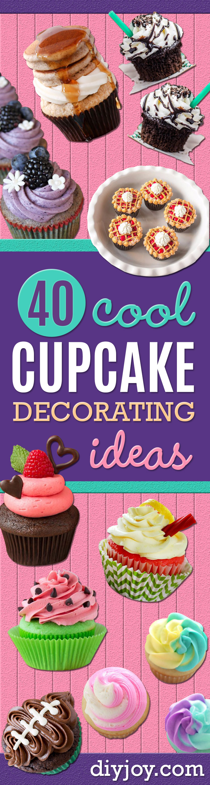 Cool Cupcake Decorating Ideas - Easy Ways To Decorate Cute, Adorable Cupcakes - Quick Recipes and Simple Decorating Tips With Icing, Candy, Chocolate, Buttercream Frosting and Fruit - Best Party and Birthday Party Ideas for Kids and Adults http://diyjoy.com/cupcake-decorating-ideas