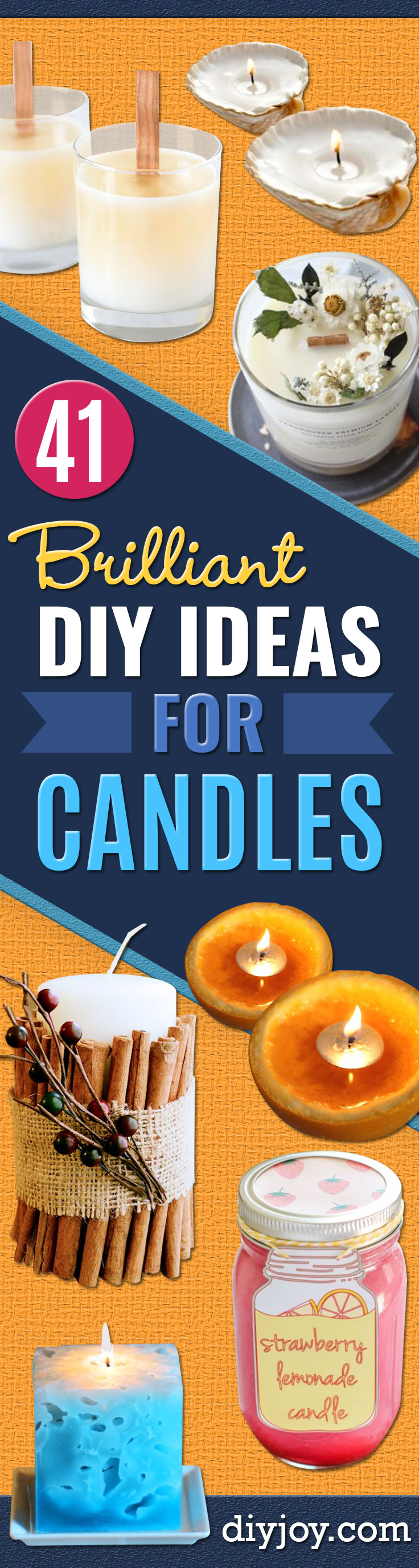 DIY Ideas for Candles - Cute, Cheap and Creative Ways to Decorate With Candles - Votives and Candle Holders Make Some Of Our Favorite Home Decor Ideas and Homemade Do It Yourself Gifts - Give One of These Inexpensive Ideas to Mom, Dad and Friends - Easy Dollar Store Crafts With Candle http://diyjoy.com/diy-ideas-candles