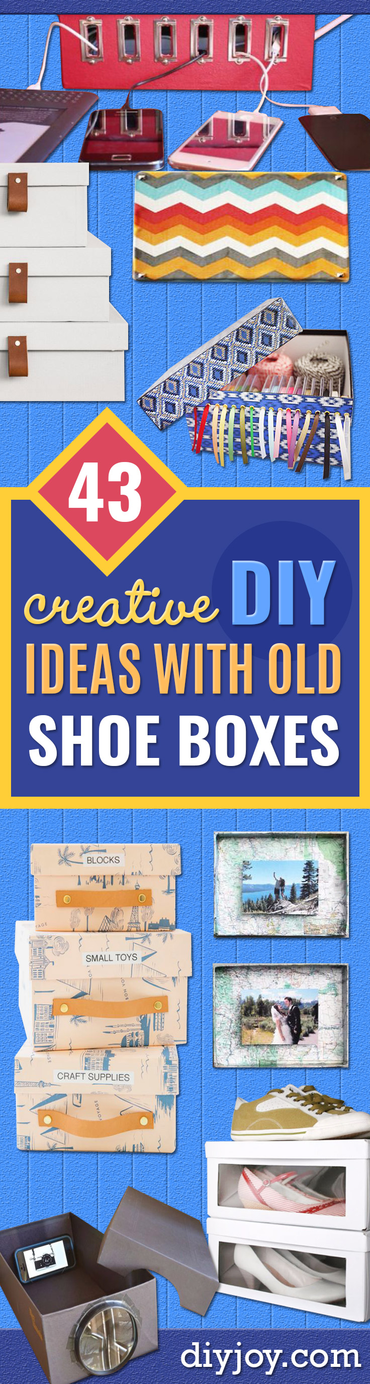 DIY Ideas With Shoe Boxes - Shoe Box Crafts and Organizers for Storage - How To Make A Shelf, Makeup Organizer, Kids Room Decoration, Storage Ideas Projects - Cheap Home Decor DIY Ideas for Kids, Adults and Teens Rooms