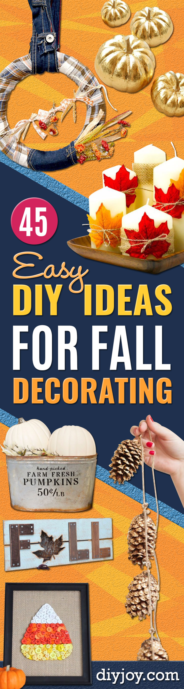 DIY Fall Decorating Ideas - Best Crafts for Fall Decorating - DIY Home Decor, Fall Mason Jar Crafts Ideas, Dollar Store Crafts, Rustic Pumpkin Ideas, Wreaths, Candles and Wall Art, Centerpieces, Craft Projects with Leaves, Flowers and Burlap Table Runner, Painted Art, Candles