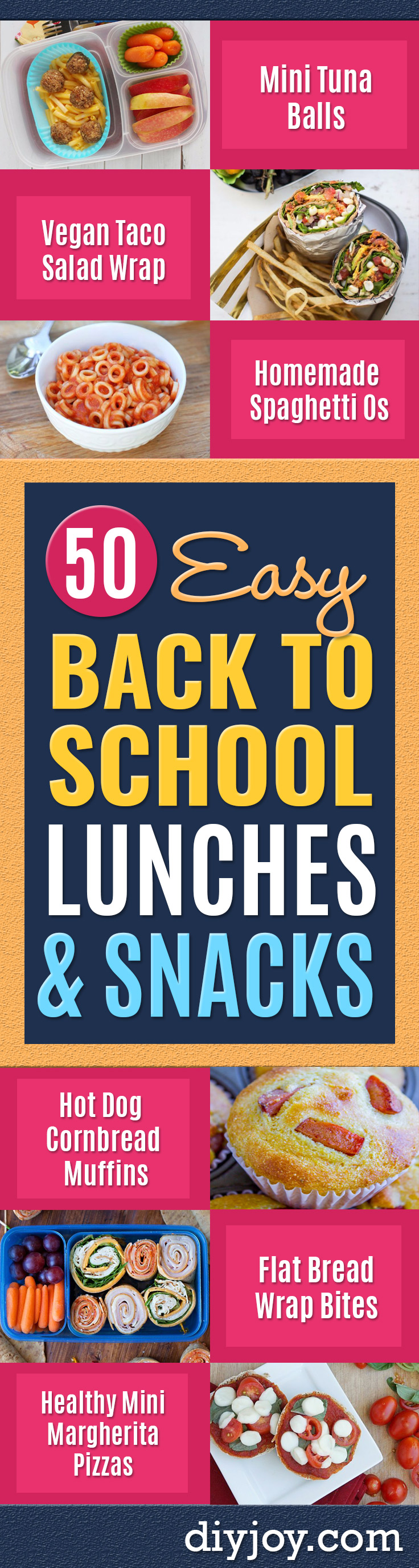 Back to School Lunch Ideas - Quick Snacks, Lunches and Homemade Lunchables - Bento Box Style Lunch for People in A Hurry - Fast Lunch Recipes to Pack Ahead - Healthy Ideas for Kids, Teens and Adults http://diyjoy.com/back-to-school-lunches
