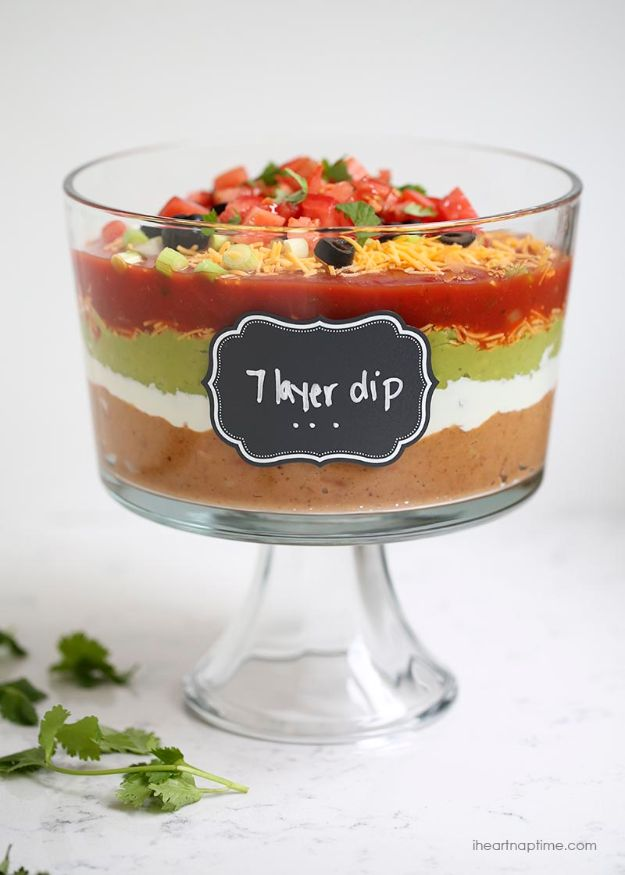 Best Dip Recipes - 7 Layer Dip - Easy Recipe Ideas for A Party Appetizer - Cold Recipe Ideas for Chips, Crockpot, Mexican Bean Dip, Desserts and Healthy Fruit Options - Italian Dressing and Ranch Dip Recipe Ideas http://diyjoy.com/best-dip-recipes