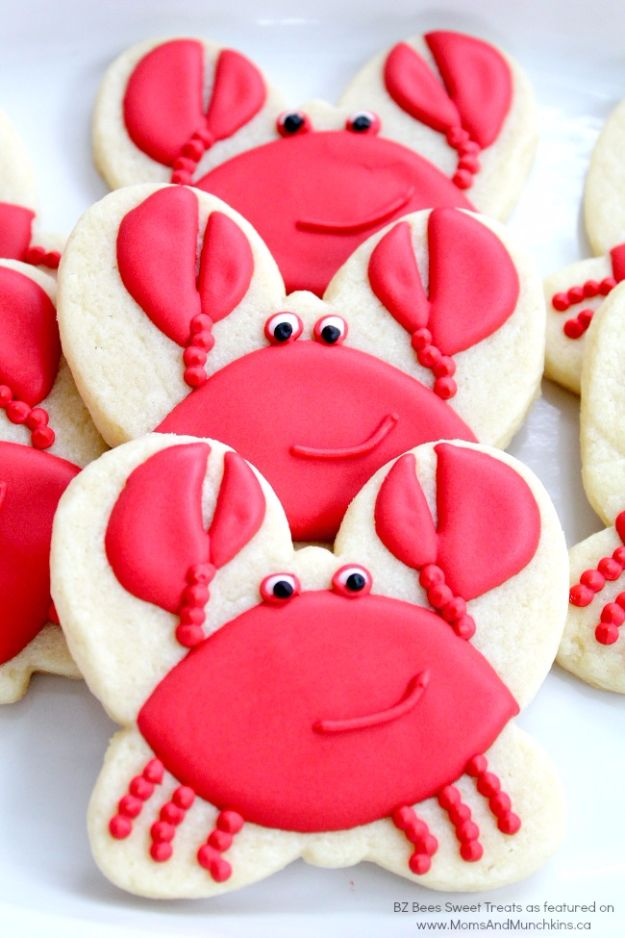 Cool Cookie Decorating Ideas - Adorable Crab Cookies - Easy Ways To Decorate Cute, Adorable Cookies - Quick Recipes and Simple Decorating Tips With Icing, Candy, Chocolate, Buttercream Frosting and Fruit - Best Party Trays and Cookie Arrangements http://diyjoy.com/cookie-decorating-ideas
